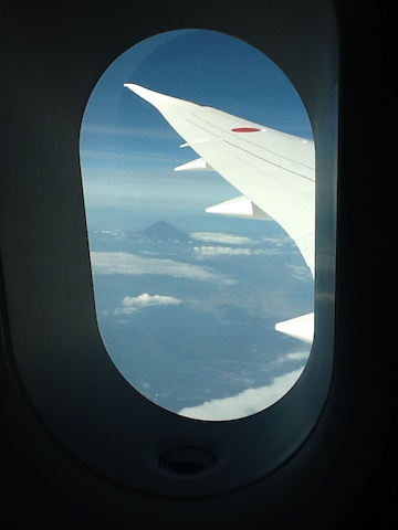 ANA's Boeing 787 Dreamliner toilet window with Mt. Fuji in the background