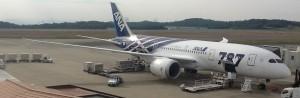 ANA's Boeing 787 Dreamliner at the gate in Okayama, Japan (OKJ)