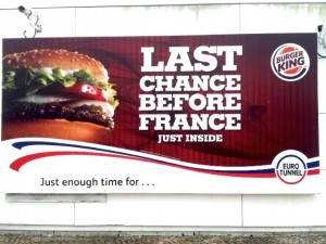 IDBUS Burger King Sign at Eurotunnel Rest Stop