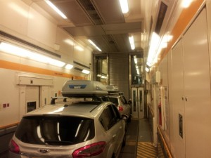 IDBUS Cars in the train for the Eurotunnel