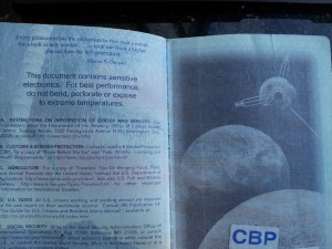 CBP logo in passport