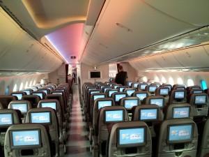Qatar Airways Boeing 787 Dreamliner Economy Class Cabin