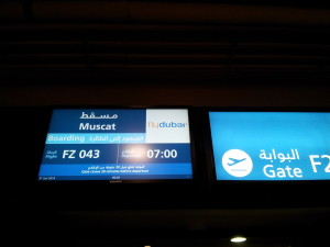 flydubai FZ 043 boarding sign