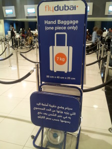 flydubai hand baggage sign