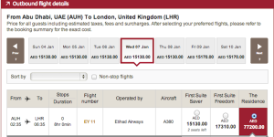 Etihad Airways The Residence AUH to LHR in Jan 2015